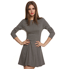 Gray Fit and Flare Dress – Rounded Neckline / Three Quarter Length Sleeves