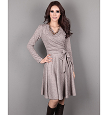 Gray Knee Length Dress – Long Sleeves / Pleated Skirt / Long Belt