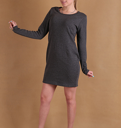 Simple Long Sleeved Shift Dress – Charcoal Gray / Back Zipper