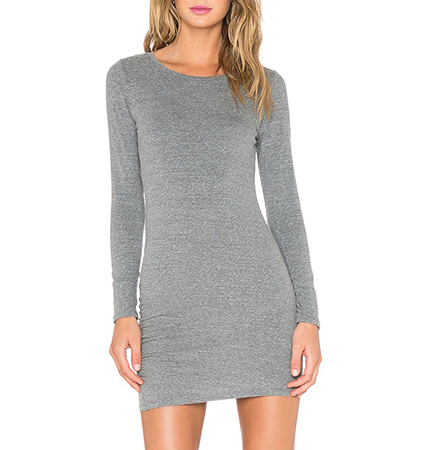 Fitted Mini Shift Dress – Medium Gray / Long Sleeves