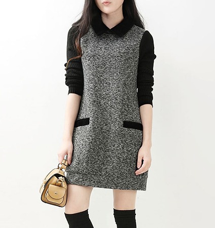 Sweater Dress – Long Sleeves / Tweed Design / Tabbed Collar / Welt Pockets
