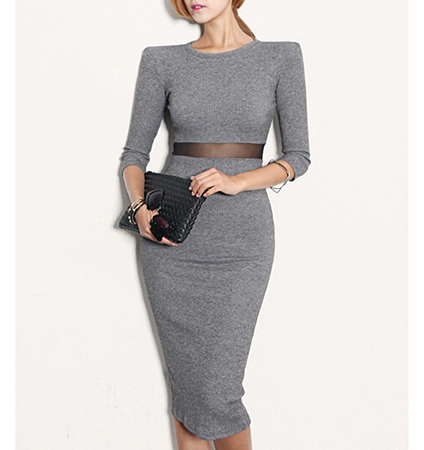 Midi Sweater Dress – Empire Waist / Gray / Mesh Insert