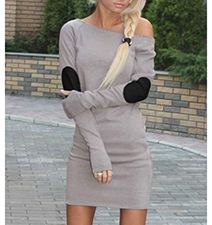 Gray Fashionable Body Conscious Dress – Elbow Patch Elegance