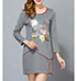 Gray Modern Sheath Dress – Long Sleeves / Graphic Print