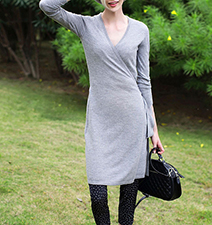 Wrap Dress – Knit / Long Sleeves / Gray