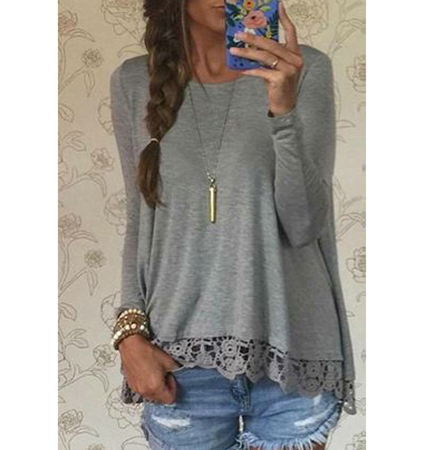 Womens Lacy Grey Trapeze Top