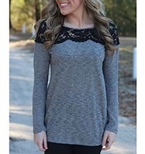 Casual Long Sleeve T-Shirt – Lace Embellishments / Long Sleeves
