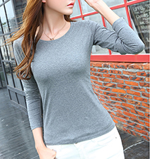 Womens Simple Long Sleeved Tee Shirt – Gray / Round Neckline