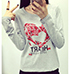 Womens Long Sleeved Tee Shirt – Gray / Heart Logo