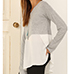 Womens Cold Shoulder Top – Gray and White / Long Sleeves