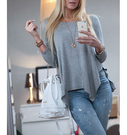 Womens Comfortable Loose Fitting Sweater – Irregular Hem / Long Sleeves