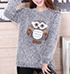 Womens Mohair Sweater – Large and Fuzzy Fabric / Cute Owl Applique