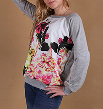 Womens Flower-Themed Sweatshirt – White / Multicolored Floral Print