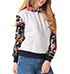 Womens Hoodie Jacket – White Body / Flowered Accents / Kangaroo Pocket