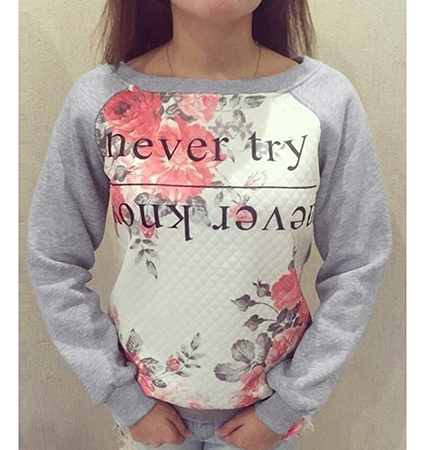 Womens Sweatshirt – Gray and Off White / Floral Design