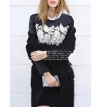 Womens Embellished Sweatshirt – Charcoal Gray / Lace Ruffle