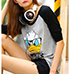 Womens Casual Tee – Black and Gray / Duck Theme