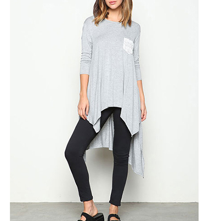 High Low Tunic Top – Gray / White Pocket on Front