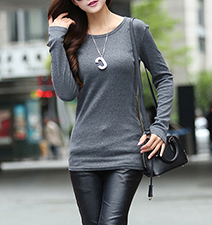 Womens Knit Tunic – Gray / Decorative Zipper Detail