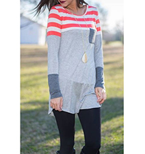 Womens Tunic – Stripes / Red White and Two Shades of Gray