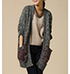 Womens Casual Outer Wrap – Cotton Blend Knit / Gray with Burgundy
