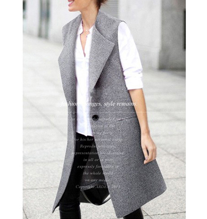 Womens Sleeveless Wrap – Gray / Knee Length
