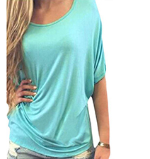 Womens Short Sleeved Blouse – Mint Green / Crochet Lace Detail