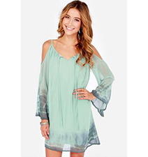 Green Chiffon Dress – No Shoulders / Short Length / Dipped Rounded Cut