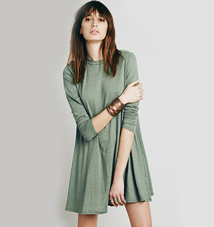 Causal Long Sleeve Dress – Rounded Neckline / Pleated Feature / Army Green