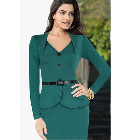 Women Green Pencil Dress – Black Buttons / Belted Waistline / V-Neck Collar
