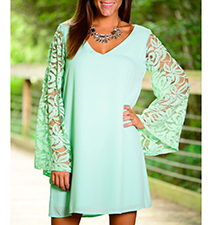 Asymmetrical Dress – Seafoam Green / Lace Sleeves / Long Sleeved