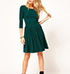 Knee Length Pleated Dress – Green / Three Quarter Length Sleeves