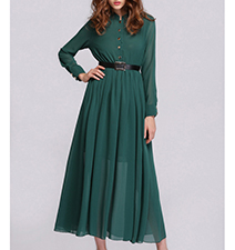 Chiffon Midi Dress – Emerald Green / Long Sleeves