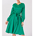 Retro Style Fit and Flare Midi Dress – Full Skirt / Green