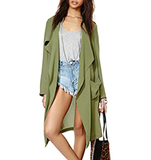 Womens Long Sleeved Duster – Muted Green / Three Quarter Length Sleeves