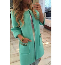 Womens Long Jacket – Front Pockets with Embellishments / Pale Green