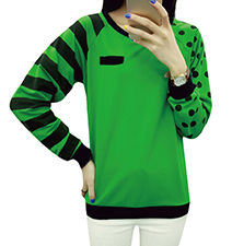 Womens Long Sleeved T-Shirt – Polka Dot Print / Striped Print