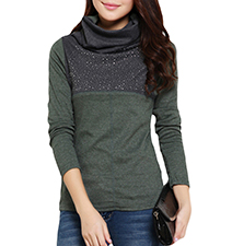 Womens Cowl Neck Sweater – Deep Gray-Green / Gray Trim