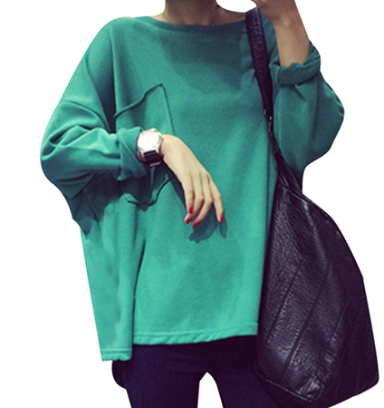 Womens Loose Cut Sweatshirt – Emerald Green / High Neckline