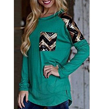 Womens Long Sleeved Top – Green / Metallic Inserts