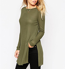 Womens Tunic – Loden Green / Side Slits