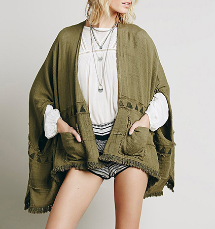 Womens Cape Wrap – Loden Green / Two Front Pockets