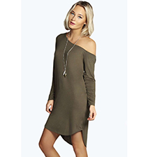 Khaki Dress – One Shoulder / Short Length
