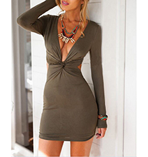 Womens Khaki Colored Dress – Fitted / Low V Neck Plunge / Short Length