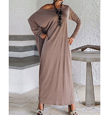 Maxi Dress – Khaki / Off The Shoulder Cut / Long Sleeves