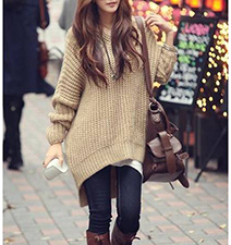 Womens Oversized Sweater – Asymmetrical Hemline / Sand Color