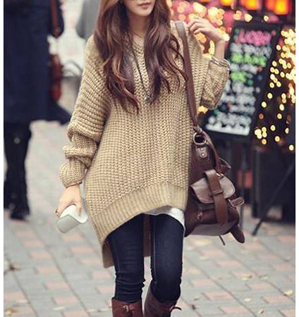 Womens Oversized Sweater - Asymmetrical Hemline / Sand Color