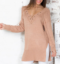 Womens Off Shoulder Sweater – Blush / Lace Detailing