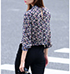 Womens Blouse – Multicolored Print / Three Quarter Length Sleeves