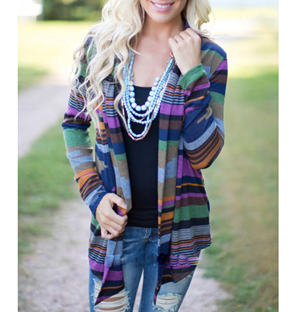 Womens Open Cardigan – Long Sleeves / Colorful Stripes / Tapered Front Hem